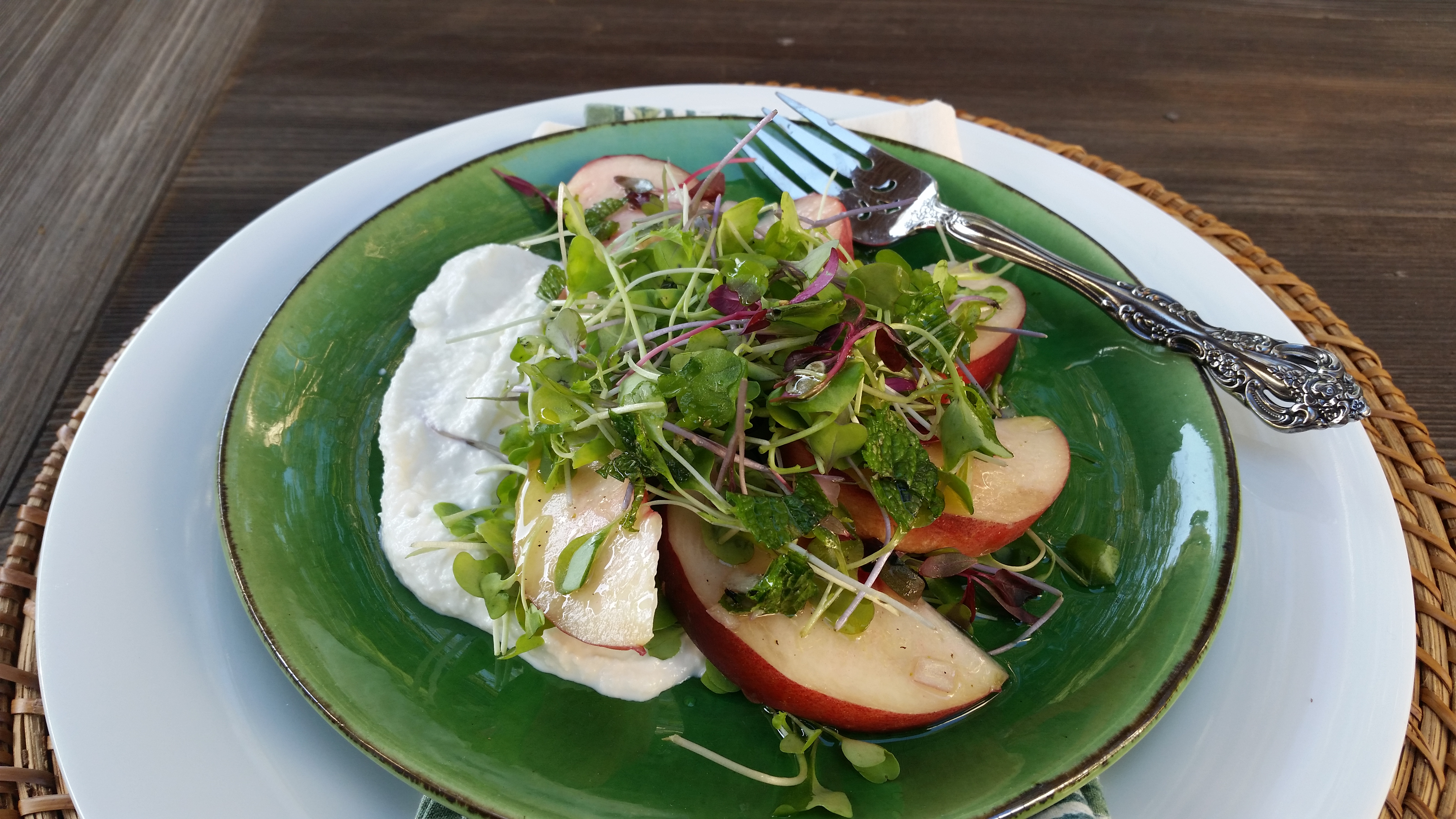 Burrata Salad With Peaches Pickled Pepper And Pea Tendrils Food And Wine Magazine